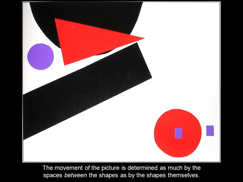 The movement of the picture is determined as much by the spaces between the shapes as by the shapes themselves.