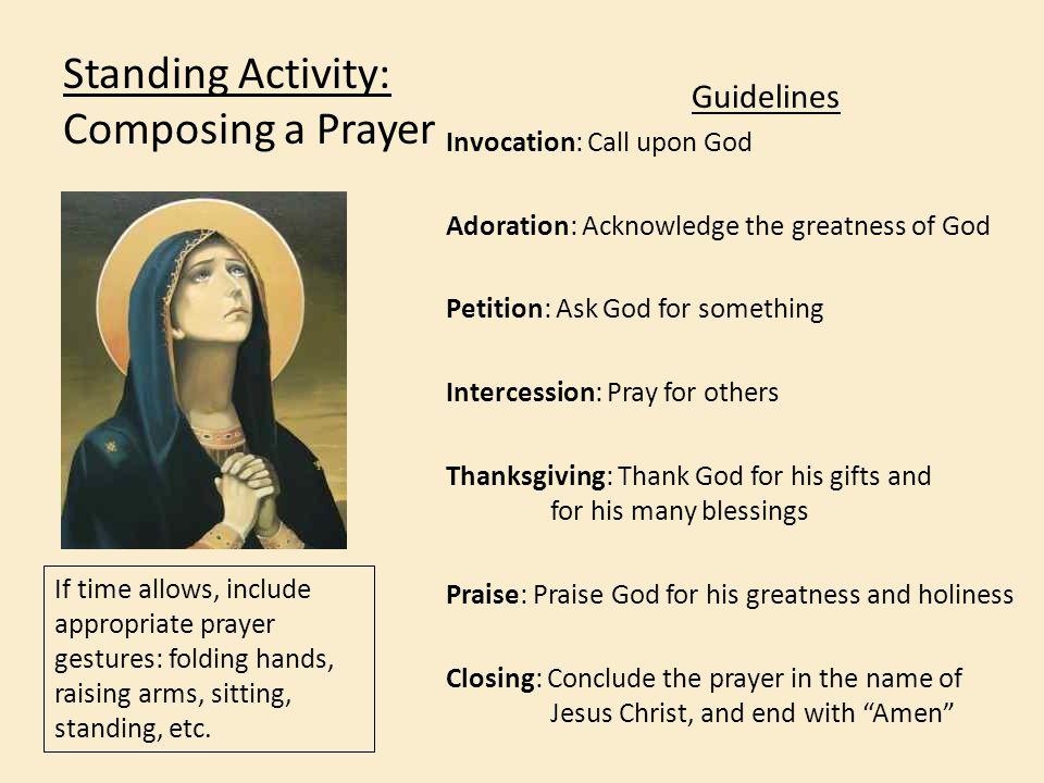 Standing Activity: Composing a Prayer