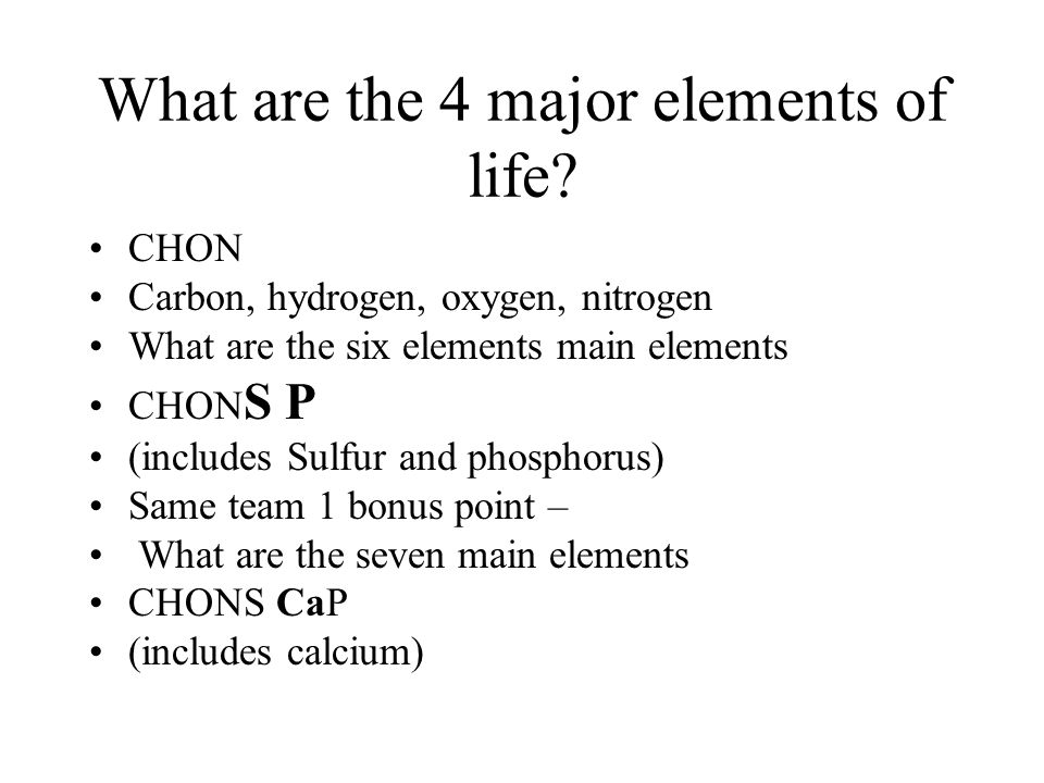 What are the 4 major elements of life