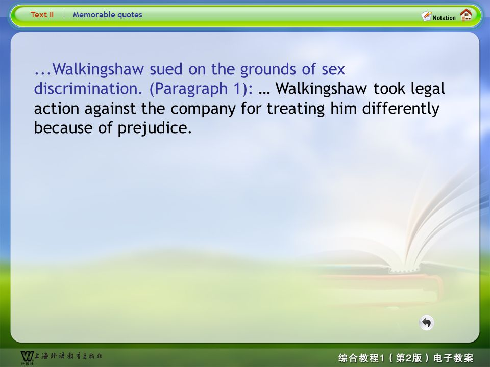 Text2– Walkingshaw ...Walkingshaw sued on the grounds of sex