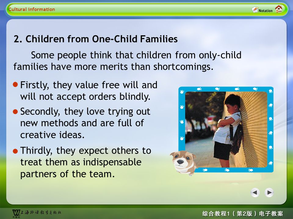 Cultural information 2 2. Children from One-Child Families
