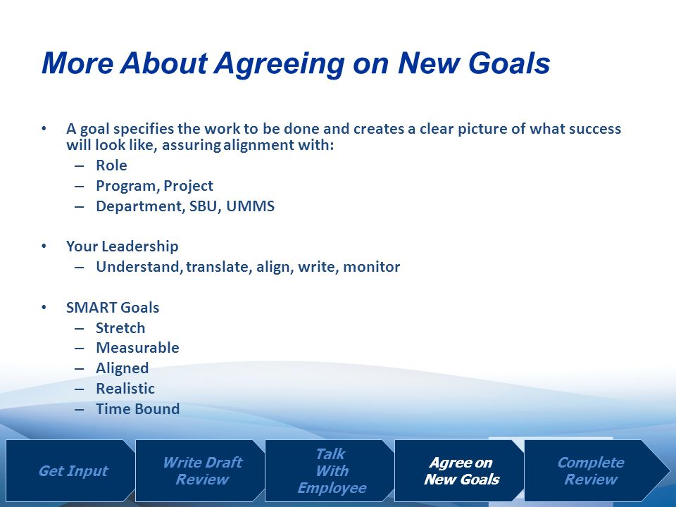 More About Agreeing on New Goals