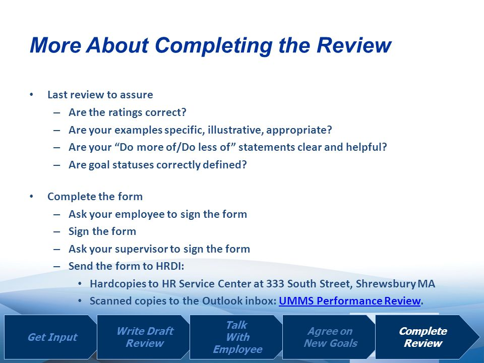 More About Completing the Review