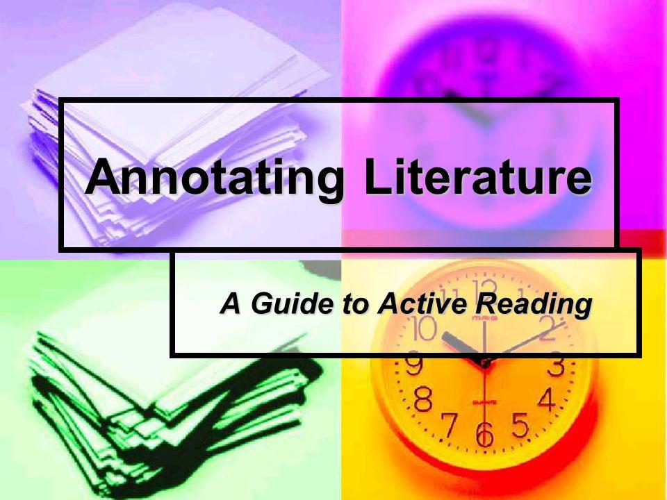 Annotating Literature