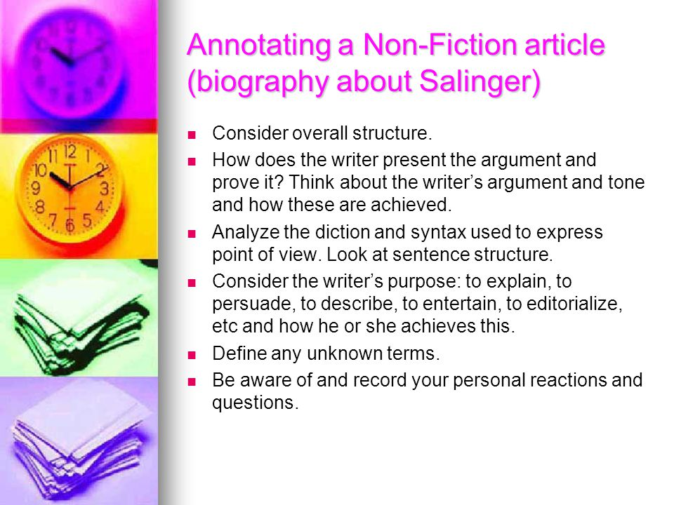 Annotating a Non-Fiction article (biography about Salinger)