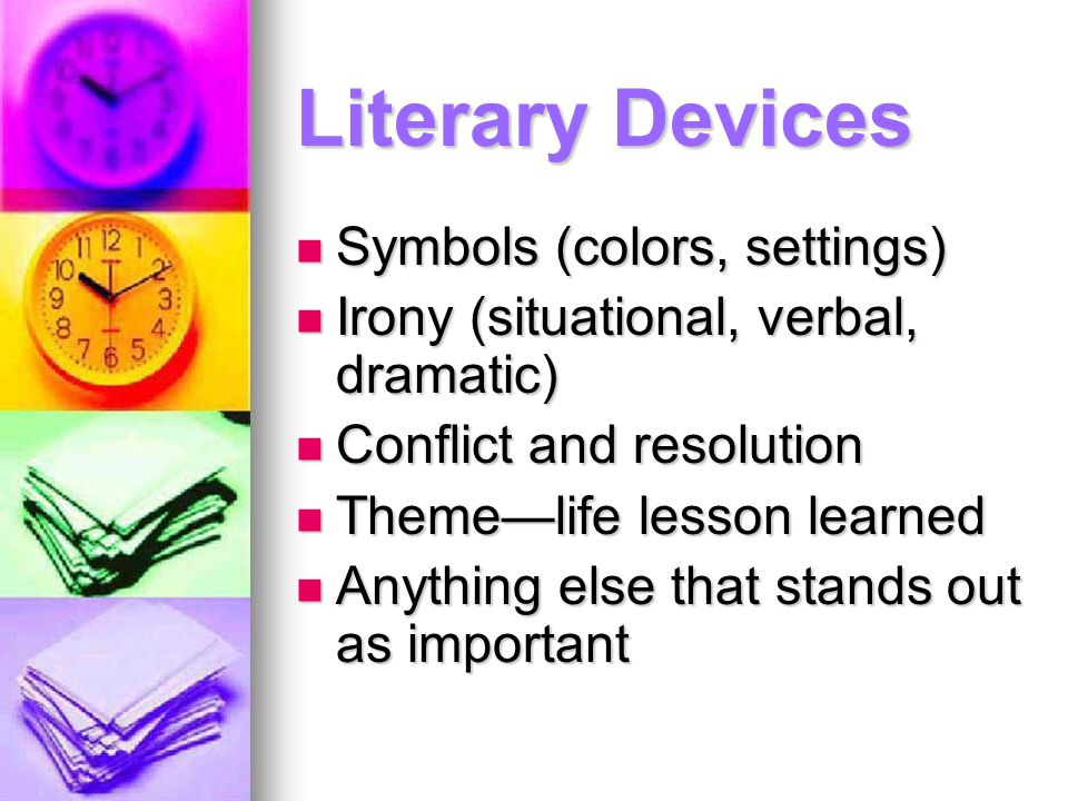 Literary Devices Symbols (colors, settings)