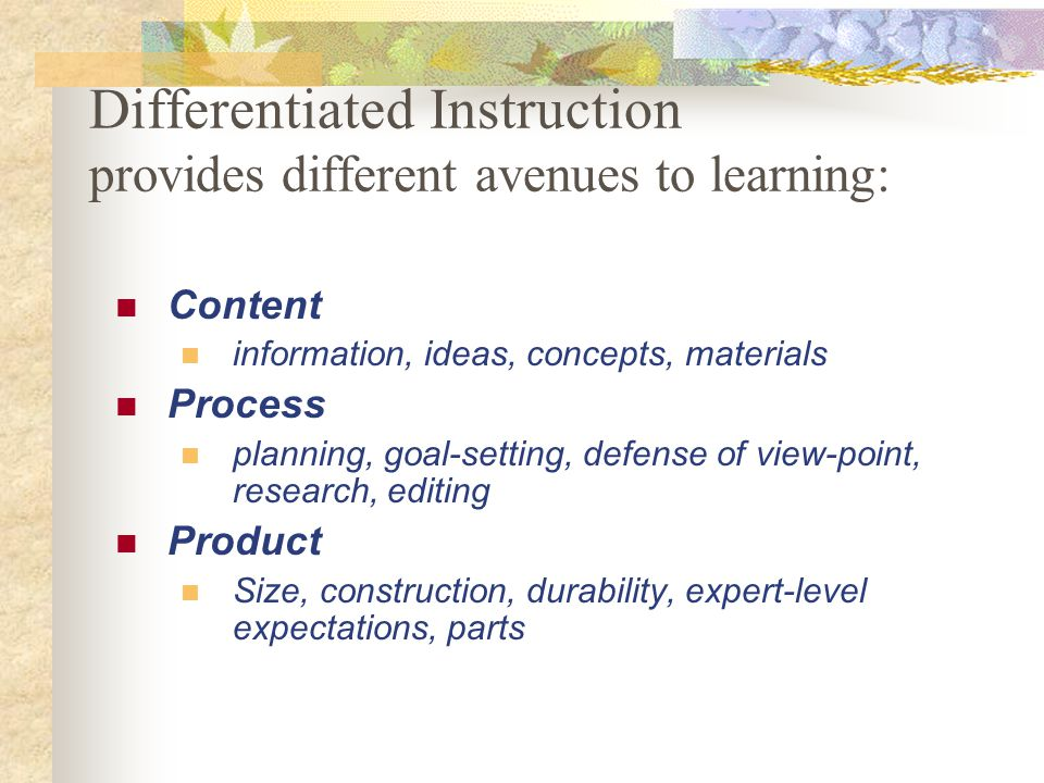 Differentiated Instruction provides different avenues to learning: