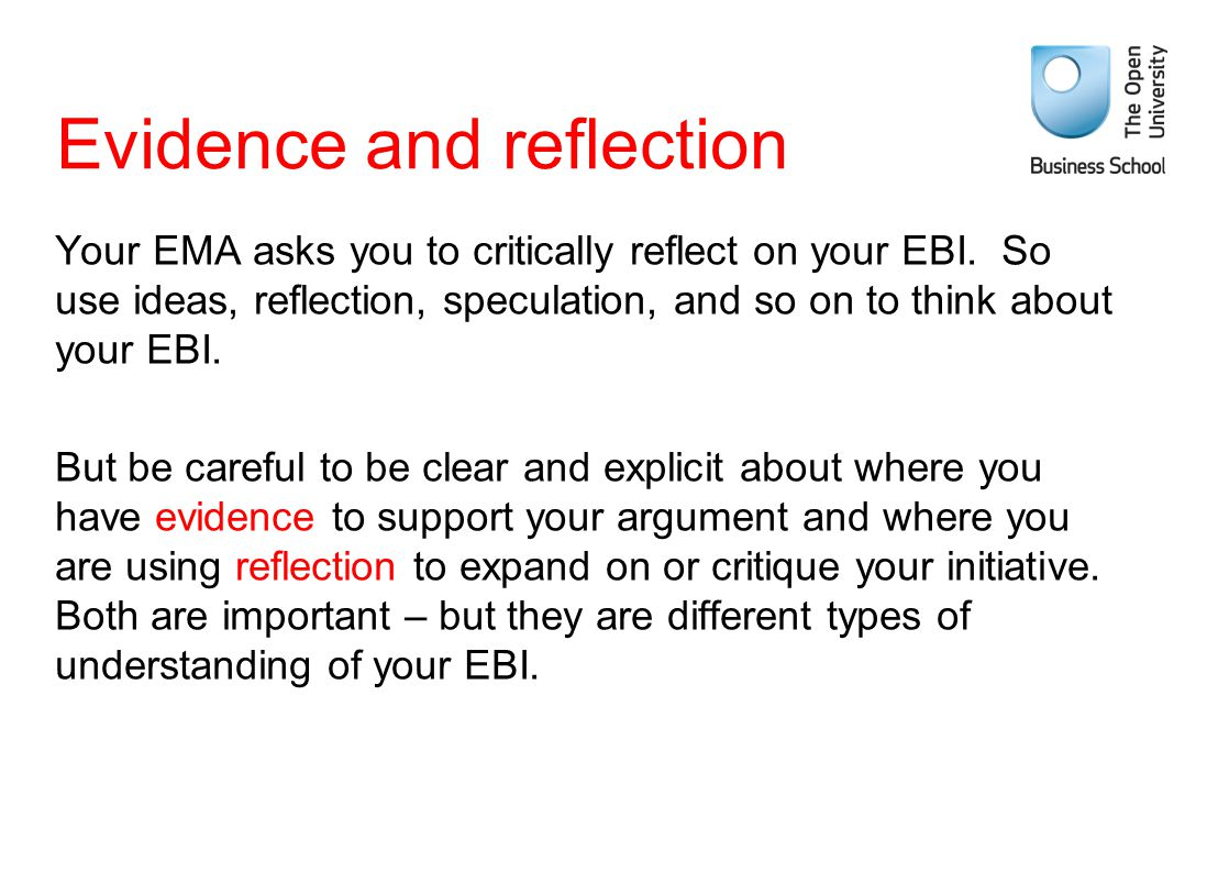Evidence and reflection