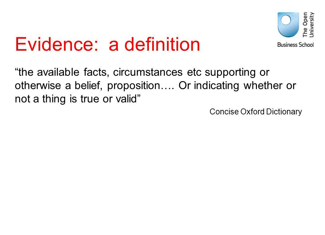 Evidence: a definition
