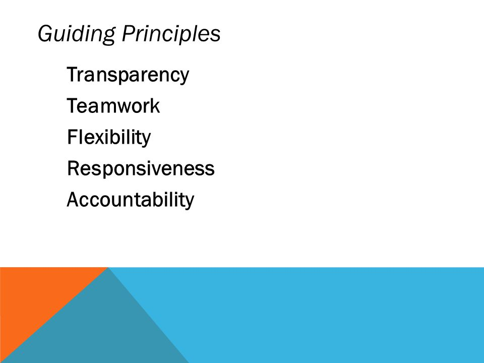 Guiding Principles Teamwork Flexibility Responsiveness Accountability