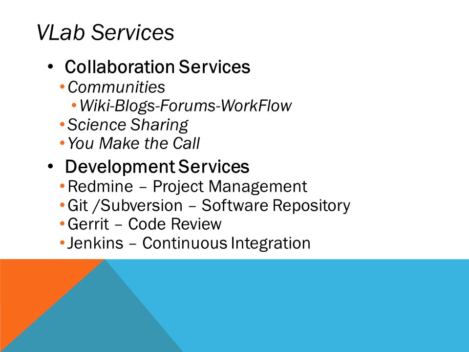 VLab Services Collaboration Services Development Services Communities