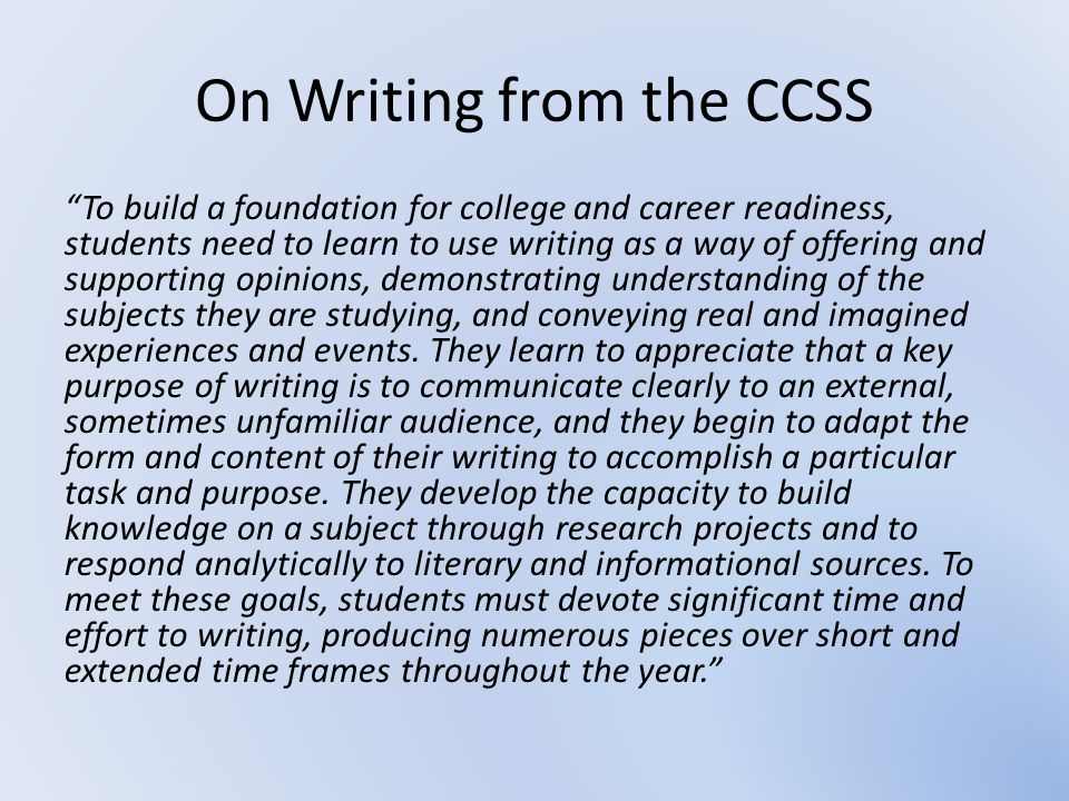 On Writing from the CCSS