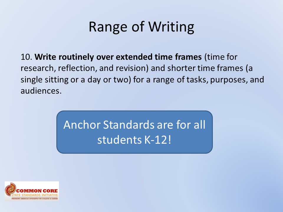 Anchor Standards are for all students K-12!