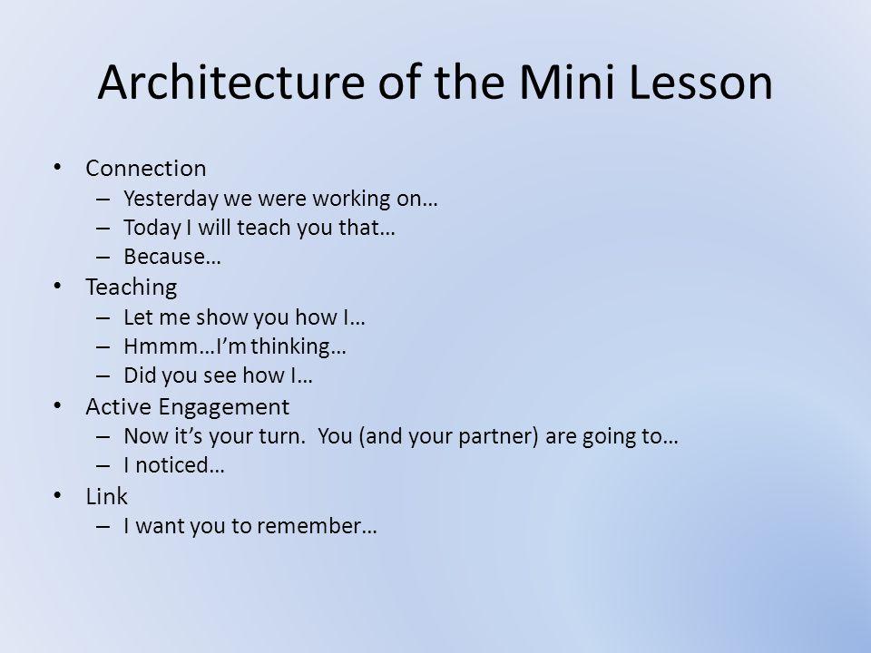 Architecture of the Mini Lesson