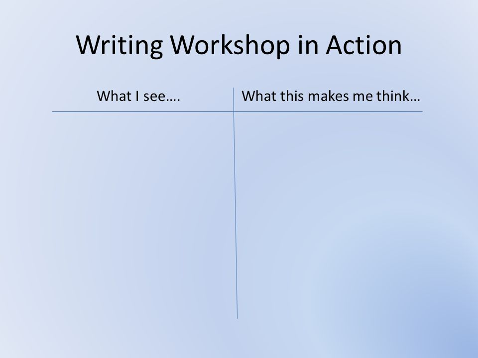 Writing Workshop in Action
