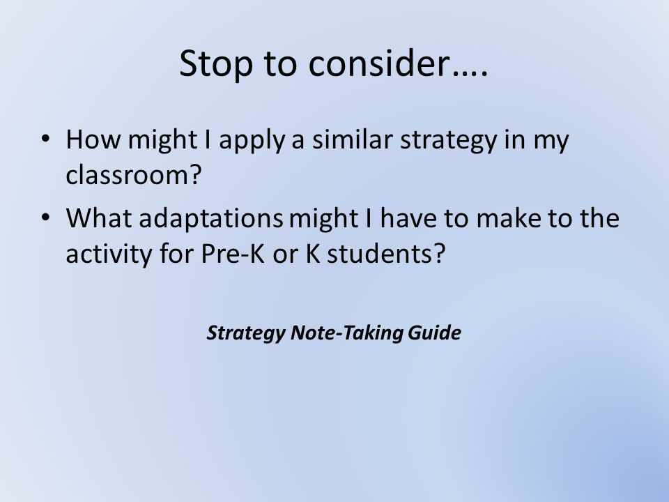 Strategy Note-Taking Guide