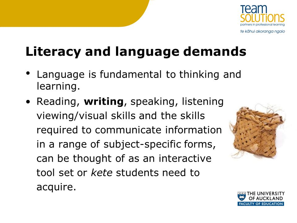 Literacy and language demands