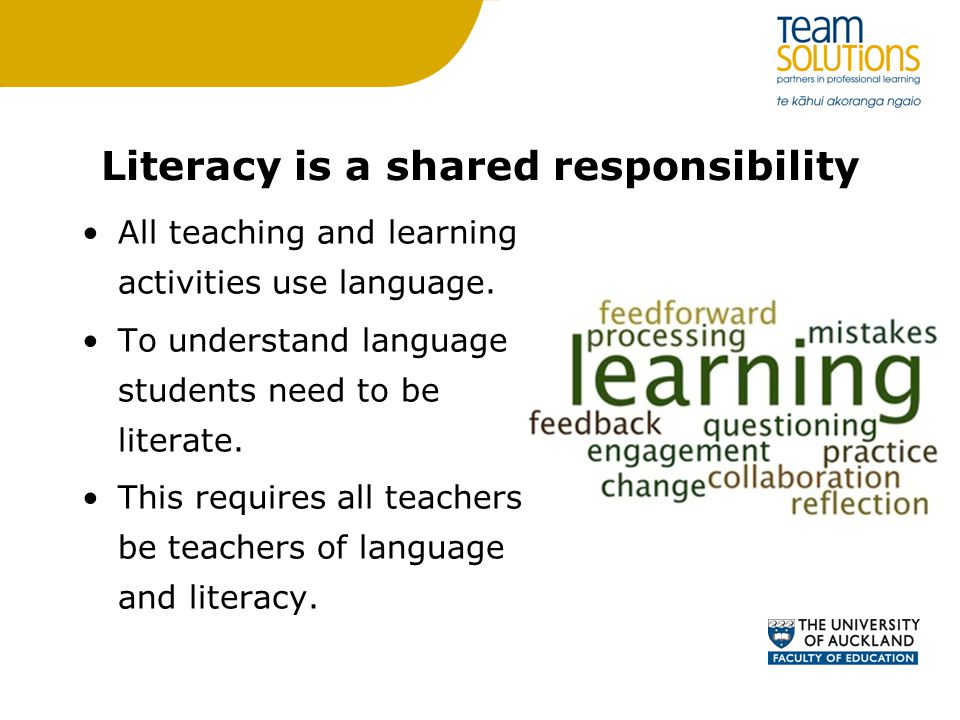 Literacy is a shared responsibility
