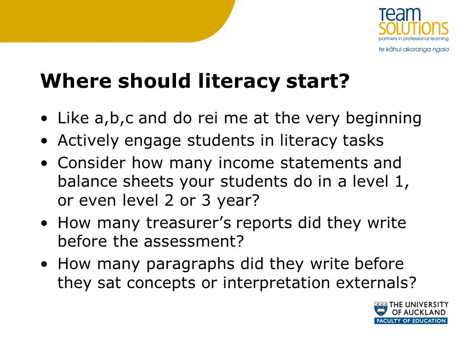 Where should literacy start