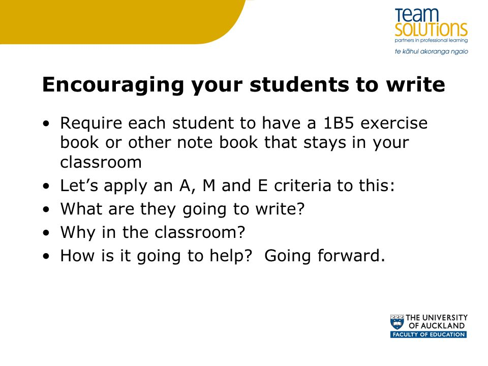 Encouraging your students to write
