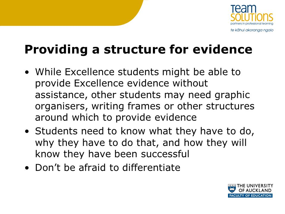 Providing a structure for evidence