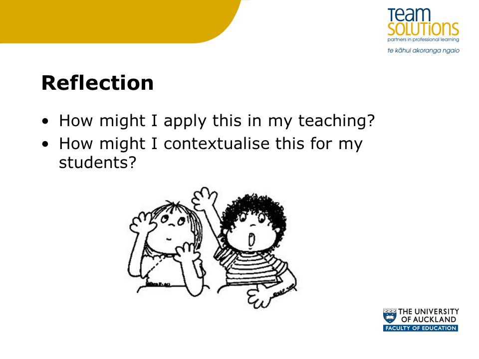 Reflection How might I apply this in my teaching
