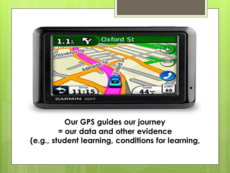 Our GPS guides our journey = our data and other evidence