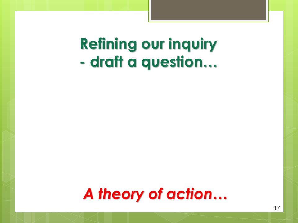 Refining our inquiry - draft a question…