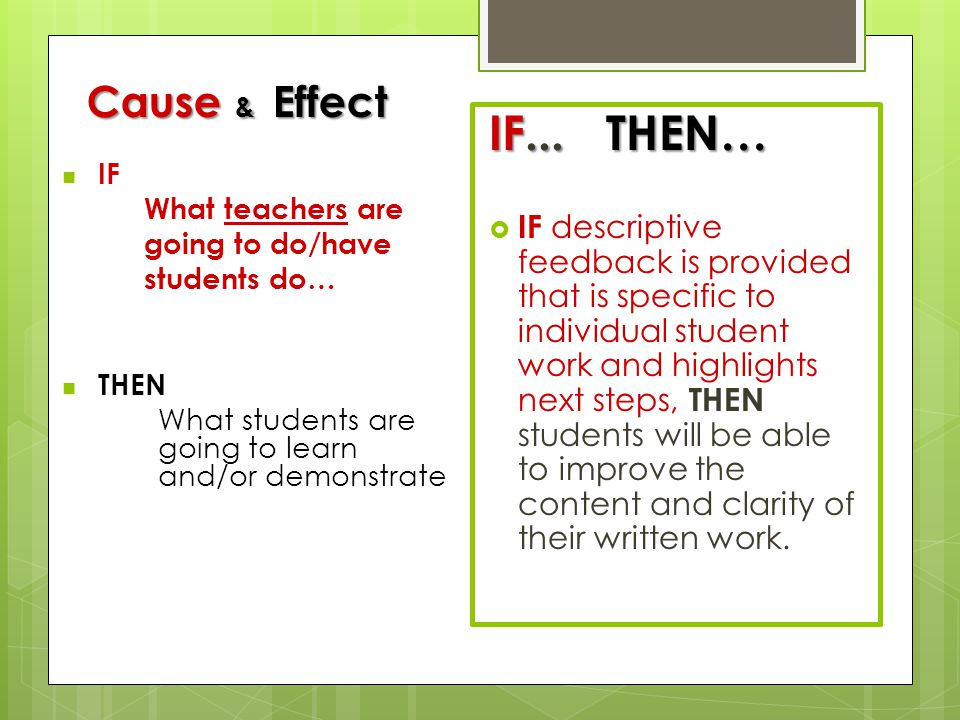 Cause & Effect IF. What teachers are. going to do/have. students do… THEN. What students are going to learn and/or demonstrate.