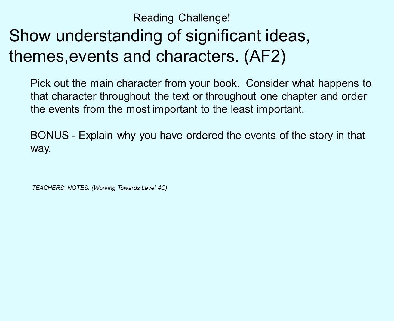 Reading Challenge! Show understanding of significant ideas, themes,events and characters. (AF2)