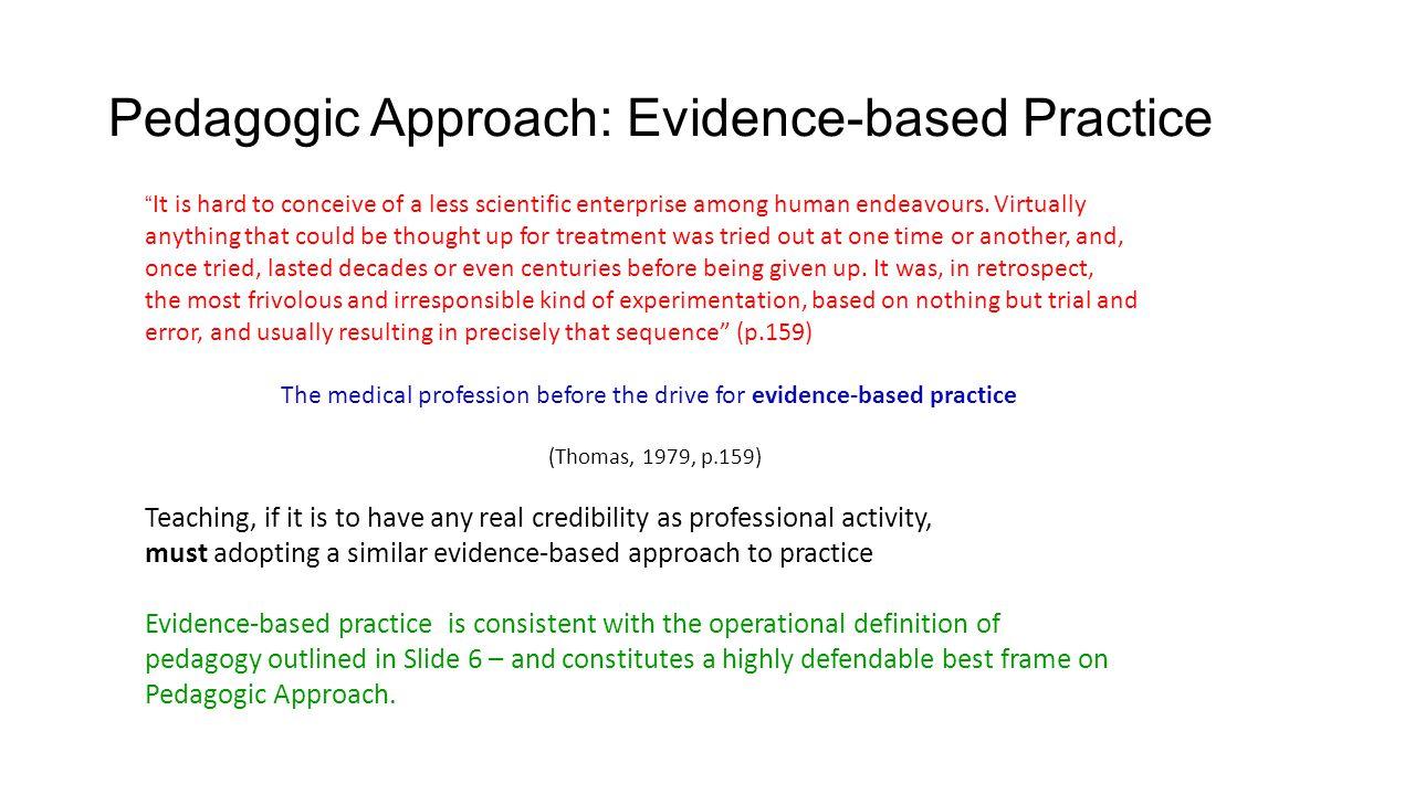 Pedagogic Approach: Evidence-based Practice