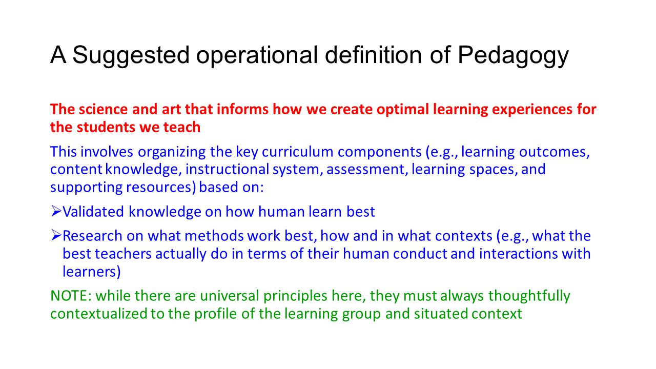 A Suggested operational definition of Pedagogy