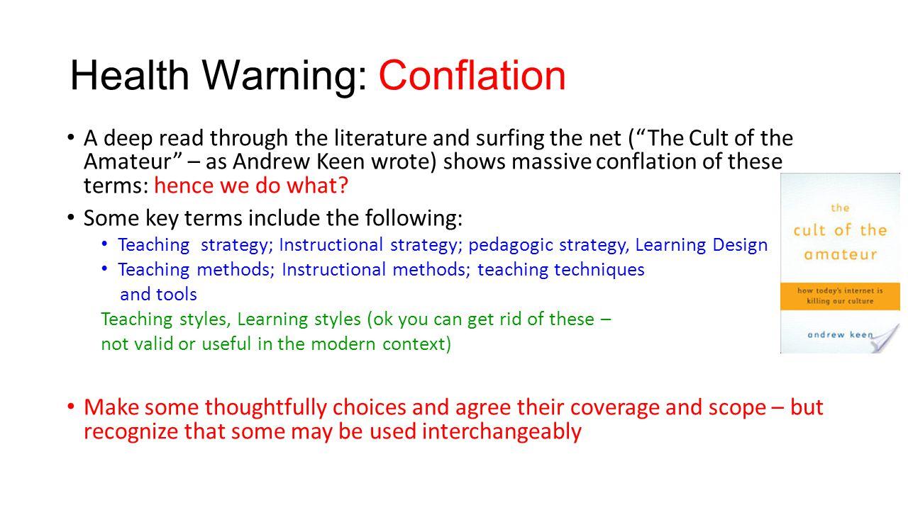 Health Warning: Conflation