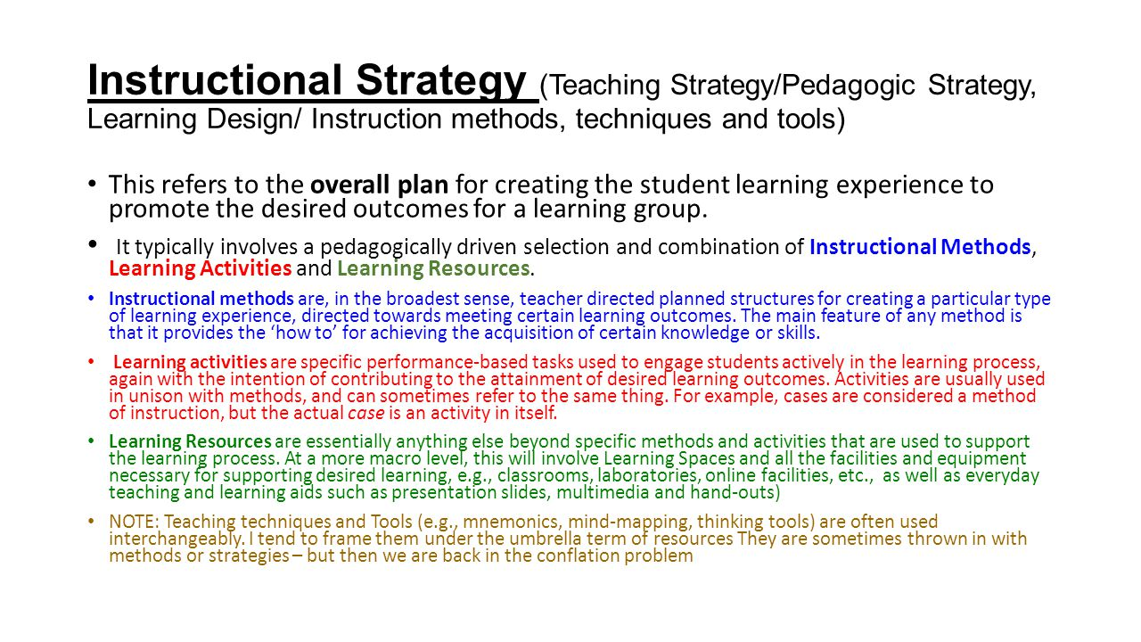 Instructional Strategy (Teaching Strategy/Pedagogic Strategy, Learning Design/ Instruction methods, techniques and tools)
