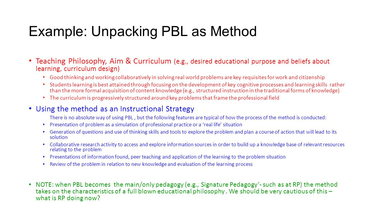 Example: Unpacking PBL as Method