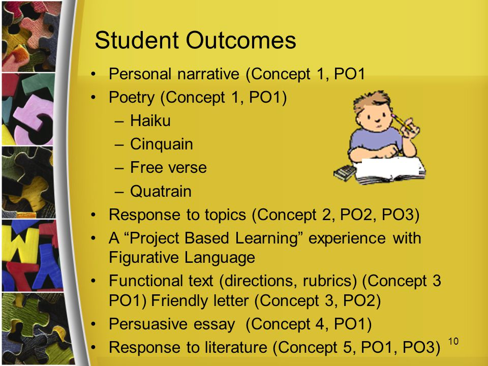 Student Outcomes Personal narrative (Concept 1, PO1