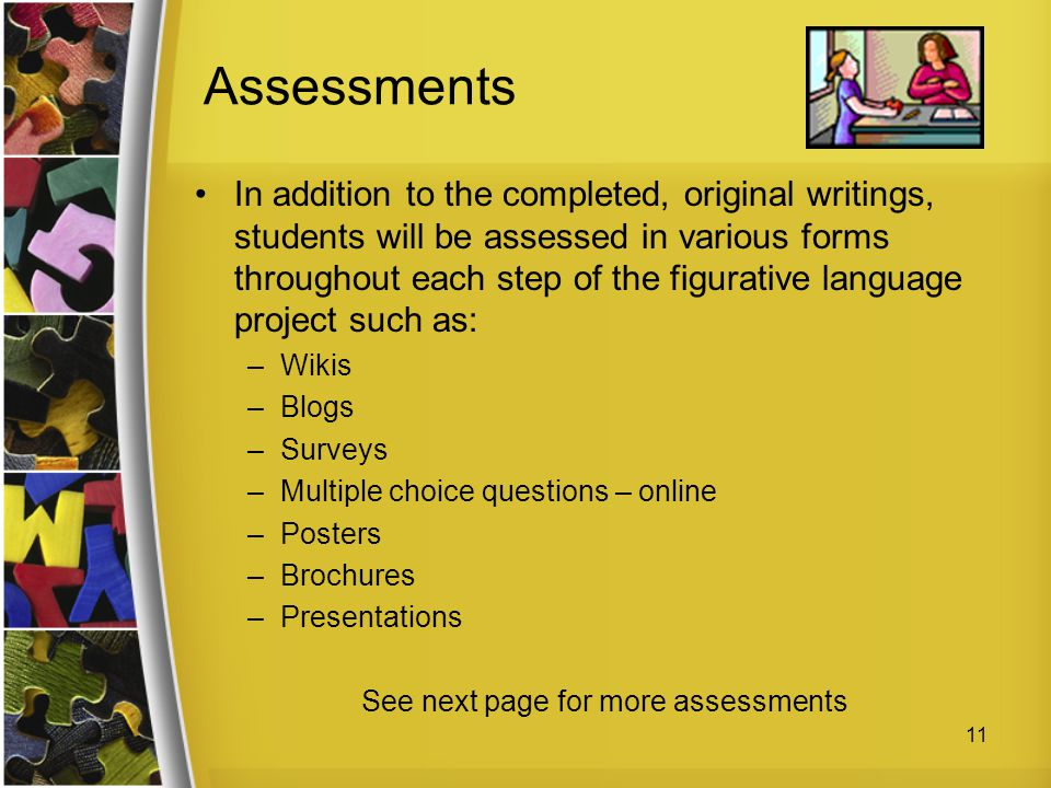 See next page for more assessments