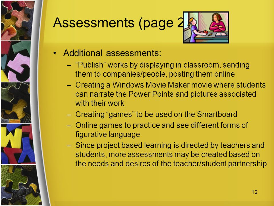 Assessments (page 2) Additional assessments: