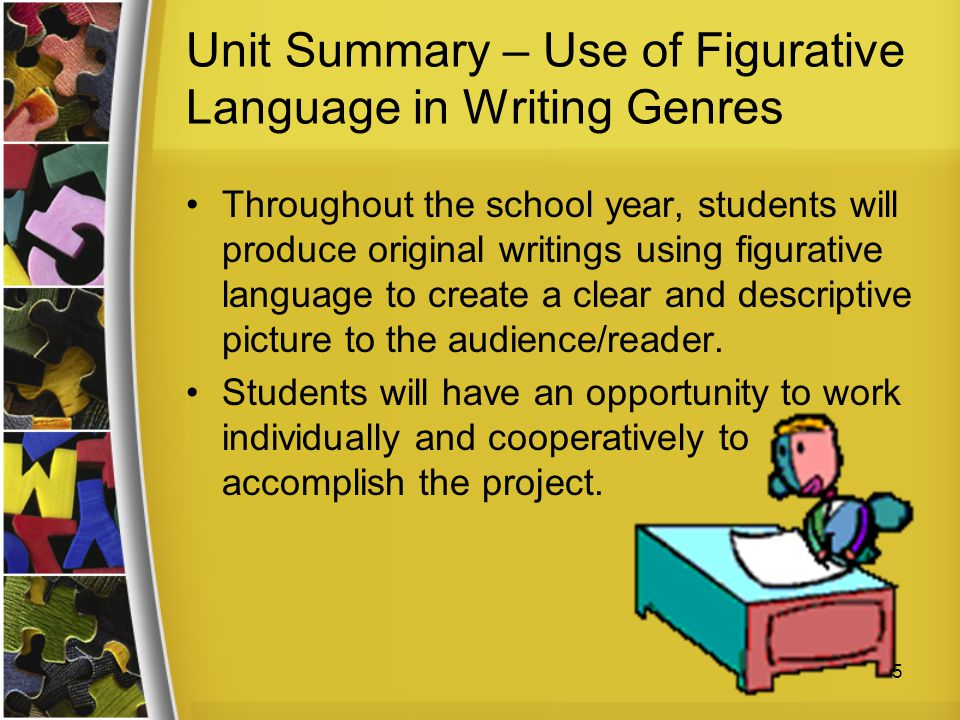 Unit Summary – Use of Figurative Language in Writing Genres