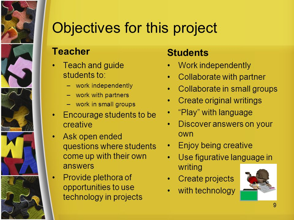 Objectives for this project