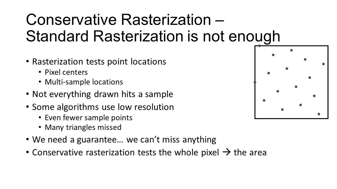 Conservative Rasterization – Standard Rasterization is not enough