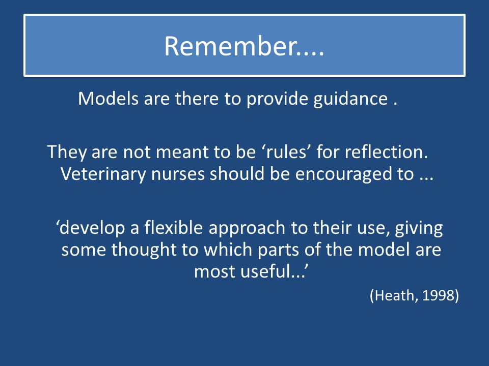 Models are there to provide guidance .