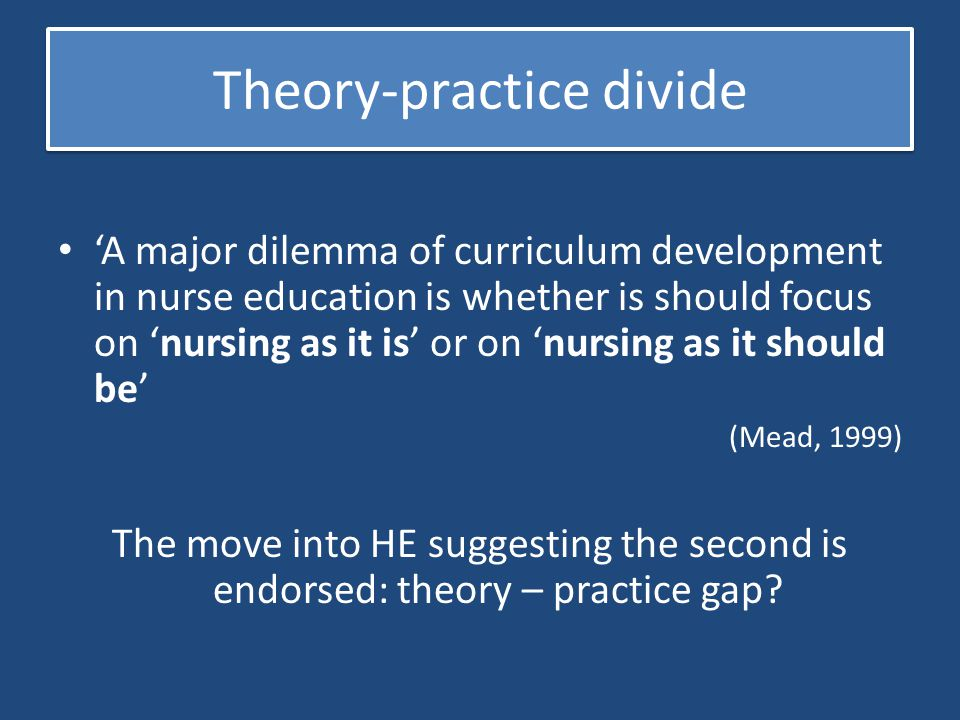 Theory-practice divide