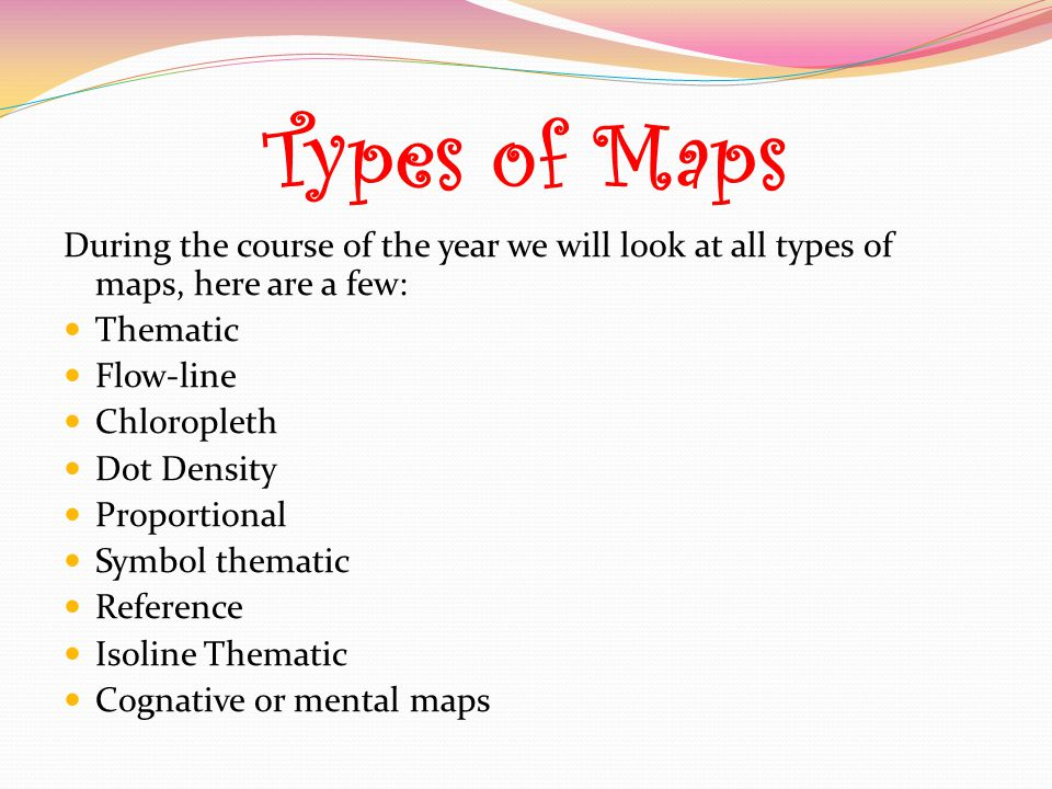 Types of Maps During the course of the year we will look at all types of maps, here are a few: Thematic.