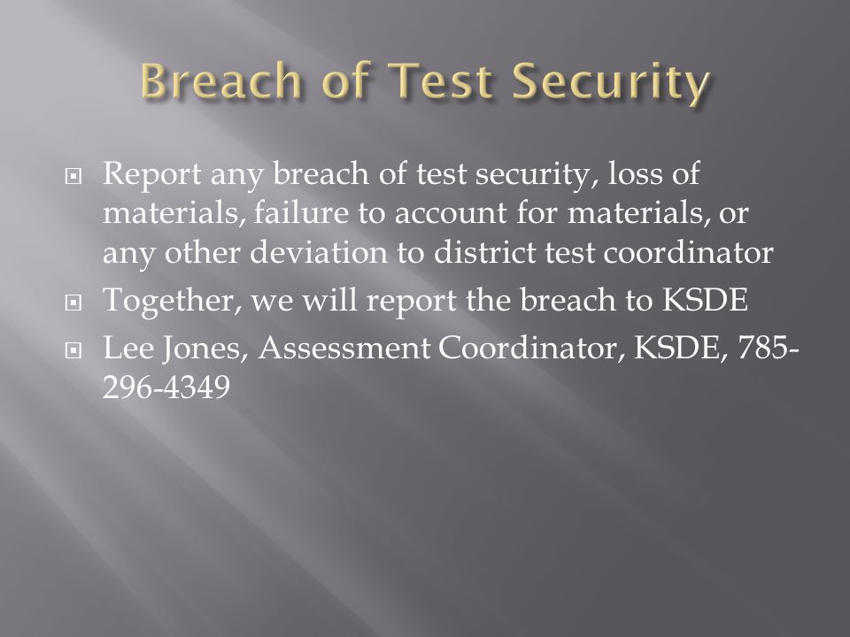 Breach of Test Security