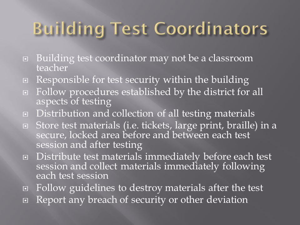 Building Test Coordinators
