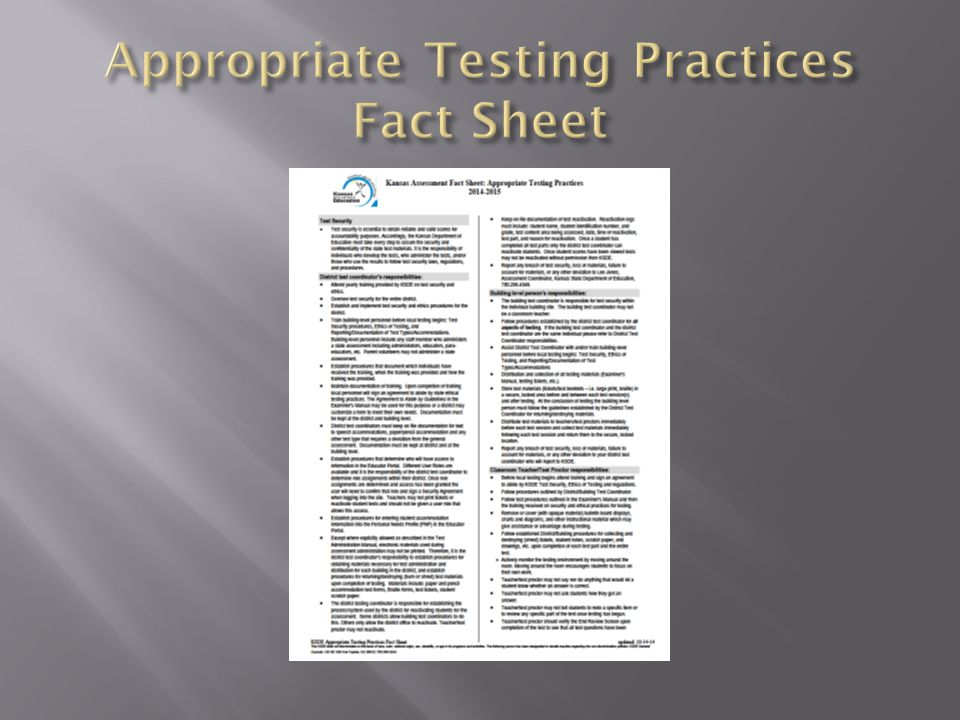 Appropriate Testing Practices Fact Sheet