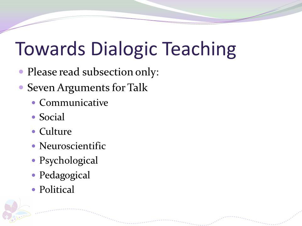 Towards Dialogic Teaching