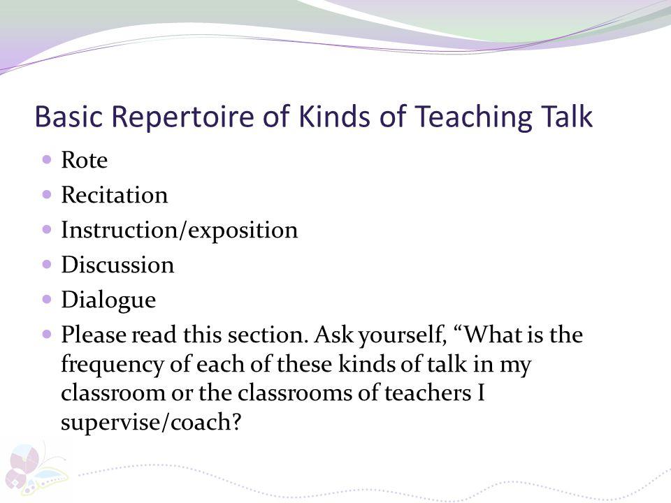 Basic Repertoire of Kinds of Teaching Talk