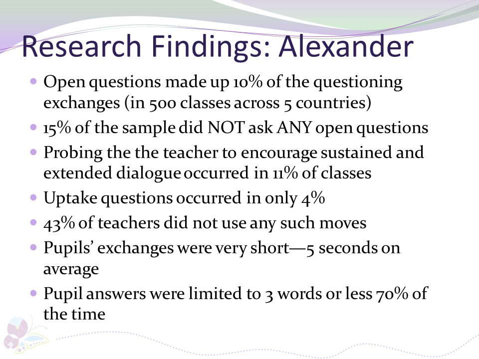 Research Findings: Alexander